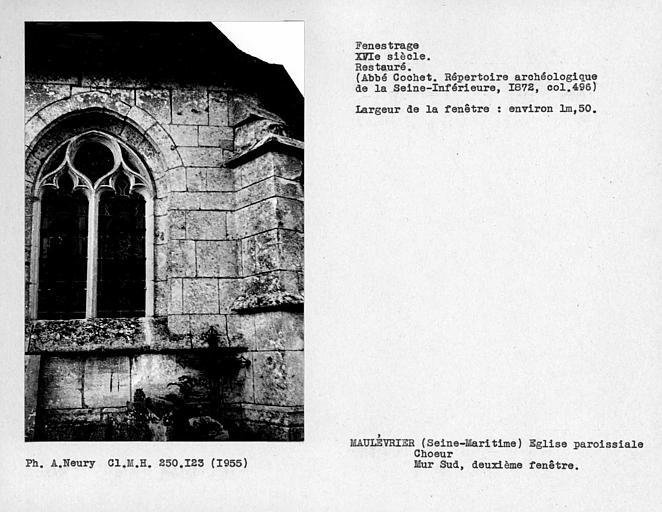 Fenestrage restauré du choeur, mur sud, deuxième fenêtre