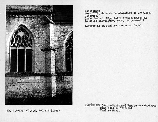 Fenestrage restauré du bras nord du transept, fenêtre nord