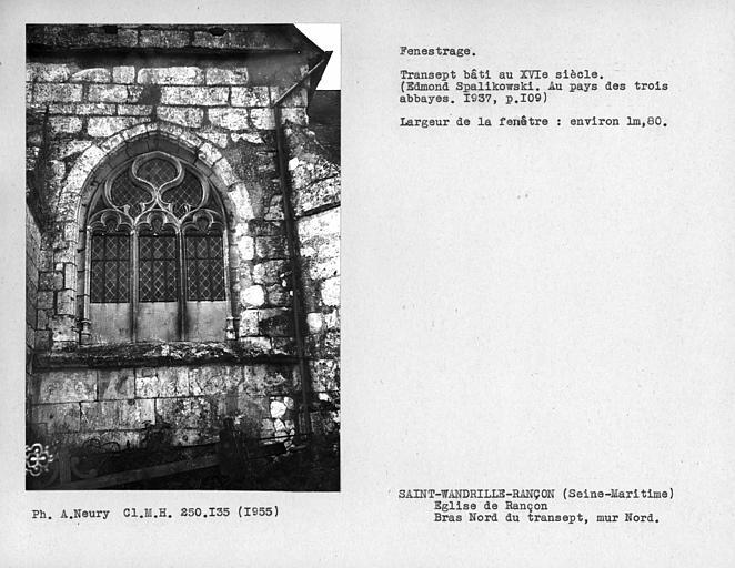 Fenestrage du bras nord du transept, fenêtre côté ouest du mur nord