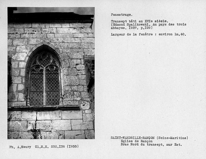 Fenestrage du bras nord du transept, fenêtre est du mur est