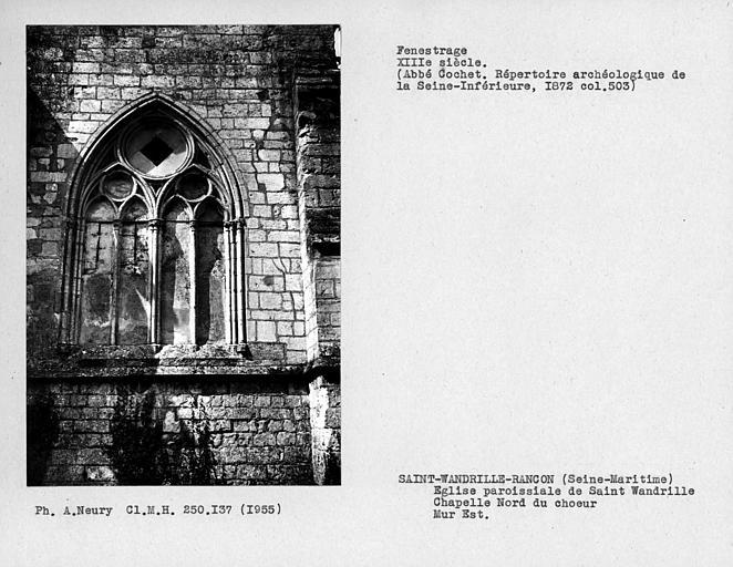Fenestrage de la chapelle nord du choeur, mur est