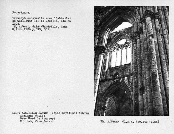 Fenestrage du bras nord du transept, mur est, face ouest