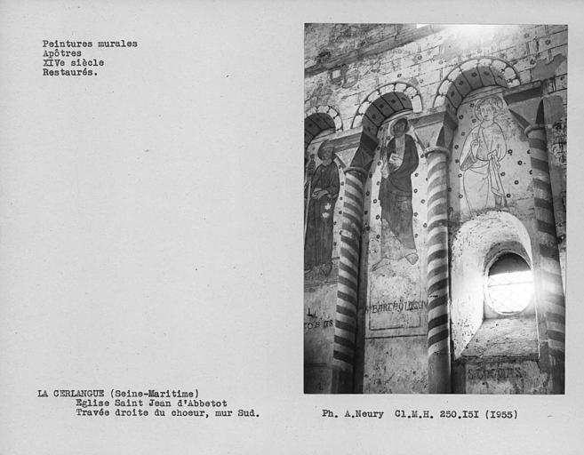 Mur nord de la travée droite du choeur, peinture murale côté gauche : trois apôtres