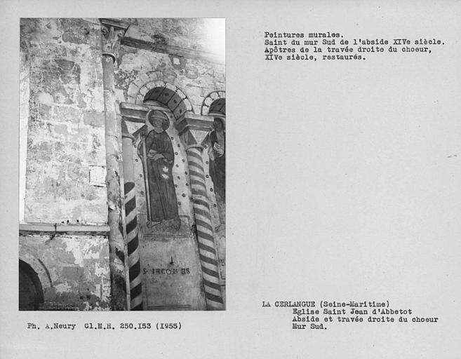 Peinture murale à droite de la fenêtre de l'abside du choeur : personnage