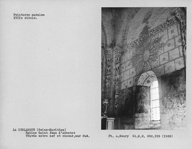 Travée entre nef et choeur, ensemble des peintures murales du mur sud