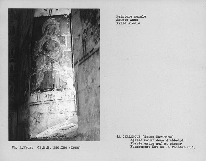 Travée entre nef et choeur, peinture murale de l'ébrasement est de la fenêtre du mur sud : Sainte-Anne