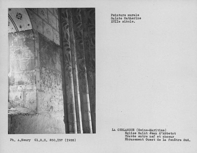 Travée entre nef et choeur, peinture murale de l'ébrasement ouest de la fenêtre du mur ouest : Sainte