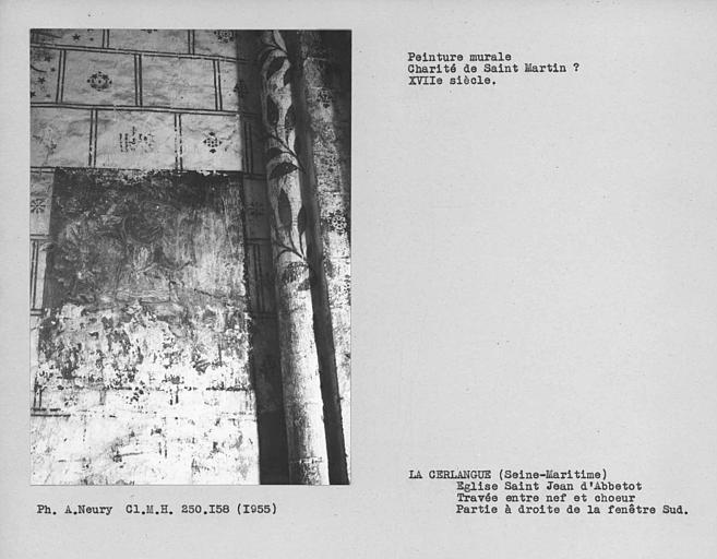 Travée entre nef le choeur, peinture murale du mur sud, à droite de la fenêtre : saint