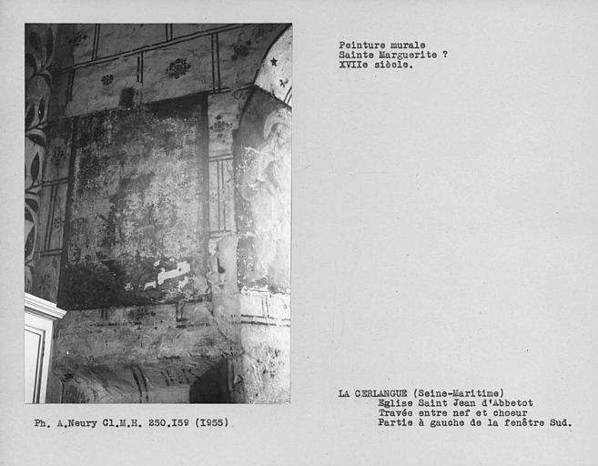 Travée entre nef et choeur, peinture murale du mur sud, à gauche de la fenêtre : saint