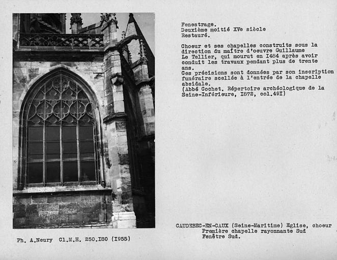 Fenestrage sud restauré de la première chapelle rayonnante sud du choeur