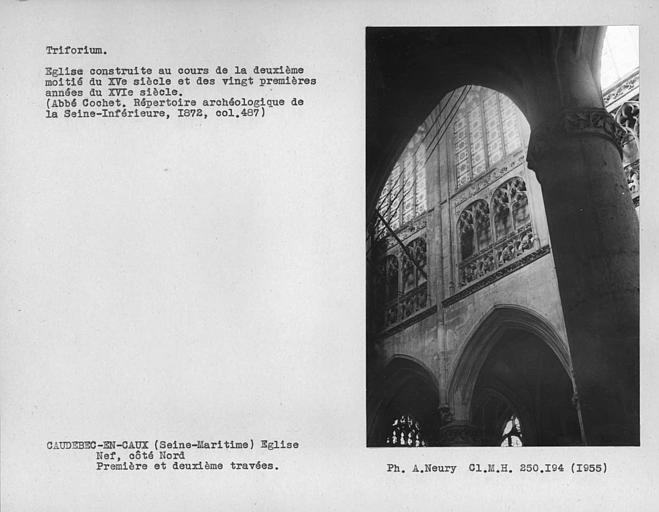Triforium des première et deuxième travées côté nord de la nef