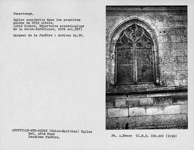 Fenestrage de la nef, deuxième fenêtre du côté nord