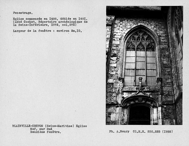 Fenestrage de la nef, deuxième fenêtre du mur sud