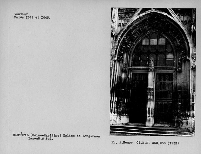 Ensemble avec claire-voie de la porte du bas-côté sud, vantaux vus de face