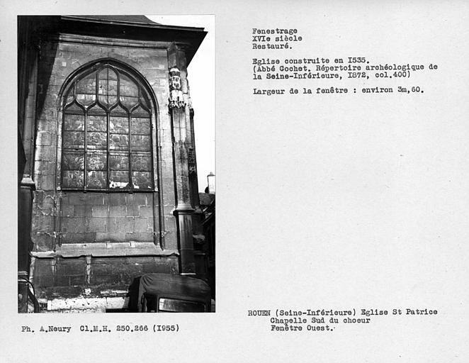 Fenestrage ouest restauré de la chapelle sud du choeur
