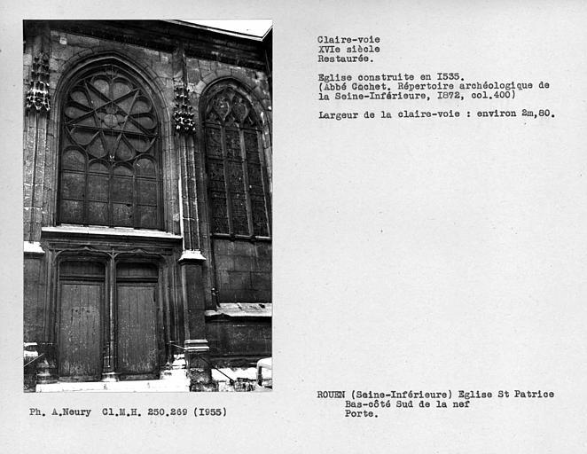 Fenestrage restauré du bas-côté sud de la nef, porte