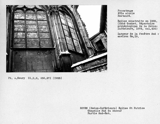 Fenestrage restauré de la chapelle sud du choeur, partie sud-est