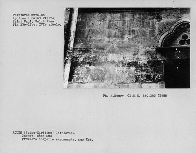Peinture murale du mur est de la première chapelle tournante du côté sud du choeur