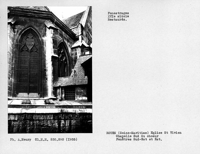 Fenestrages restaurés de la chapelle sud du choeur, fenêtre sud-est et est