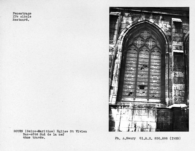 Fenestrage restauré du bas-côté sud de la nef, quatrième travée