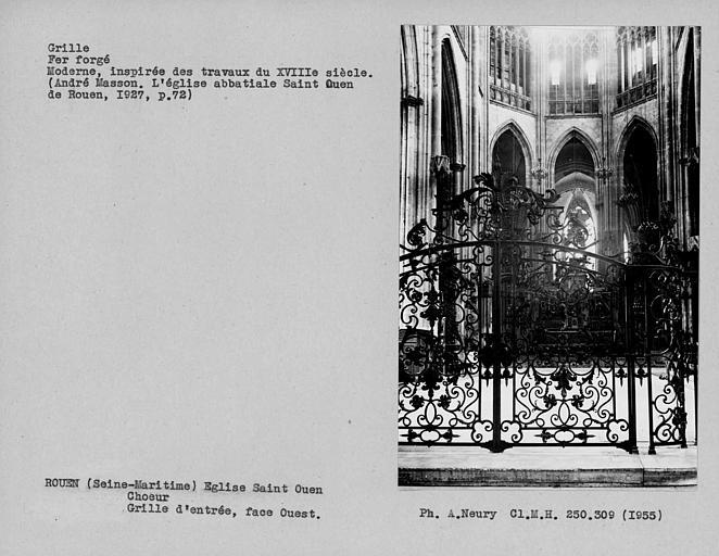 Partie centrale de la grille en fer forgé séparant le sanctuaire du transept