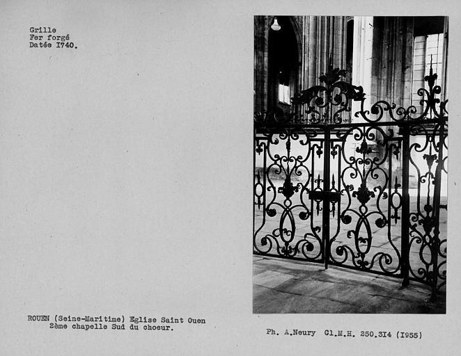 Grille en fer forgé de la deuxième chapelle sud du choeur