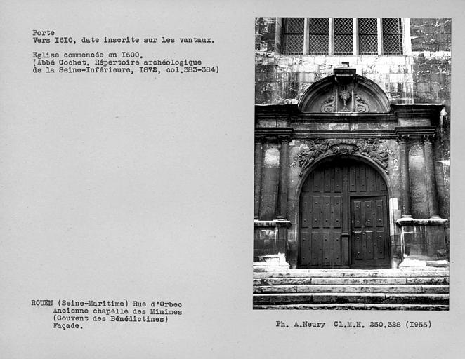 Porte et vantaux de la façade