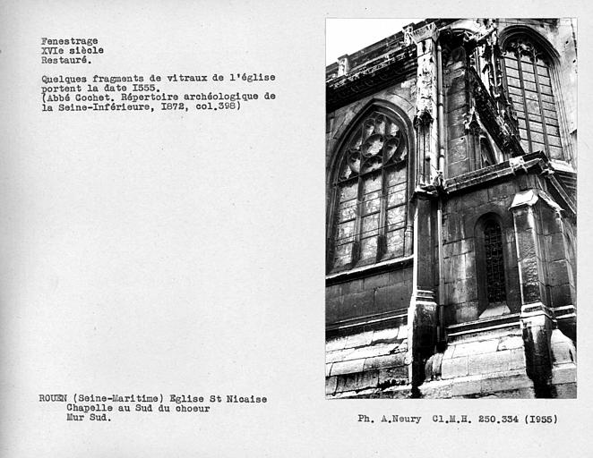 Fenestrage restauré de la chapelle au sud choeur, troisième fenêtre du mur sud