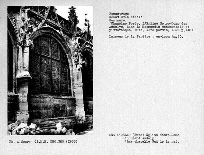 Fenestrage restauré de la deuxième chapelle côté sud de la nef
