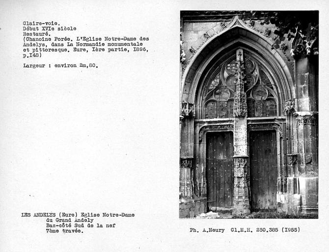 Fenestrage restauré de la septième travée de la cinquième chapelle sud de la nef