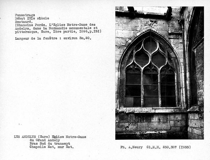 Fenestrage est restauré de la chapelle ouvrant au sud du choeur