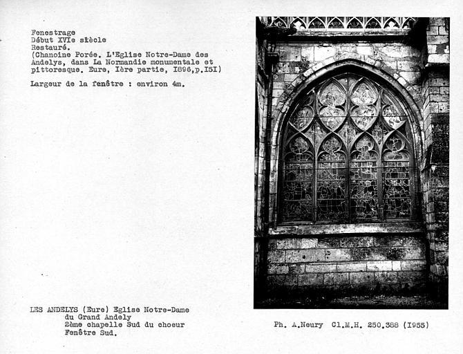 Fenestrage sud restauré de la deuxième chapelle sud du choeur