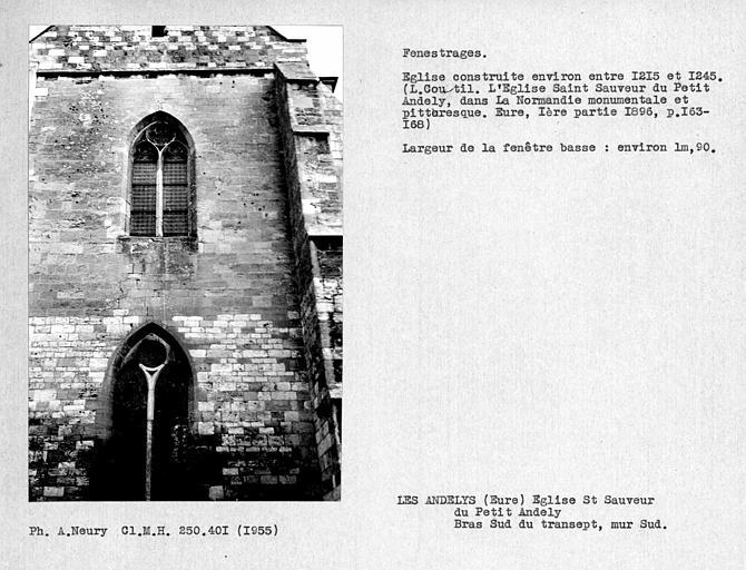 Fenestrage sud et fenêtre haute du bras sud du transept