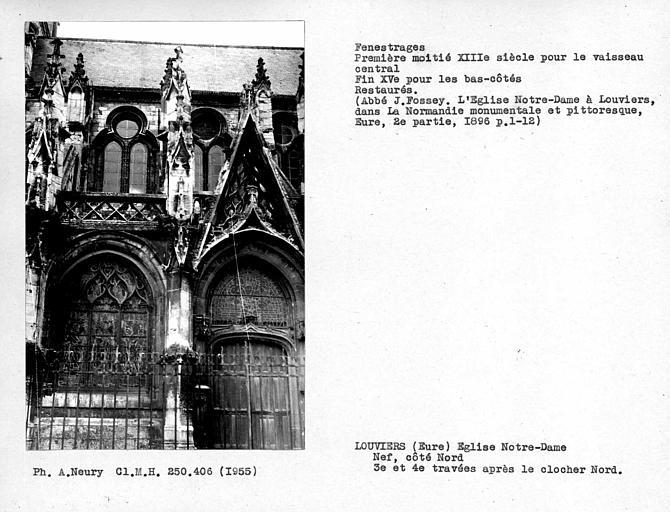 Fenestrages restaurés des troisième et quatrième travées après le clocher nord-ouest