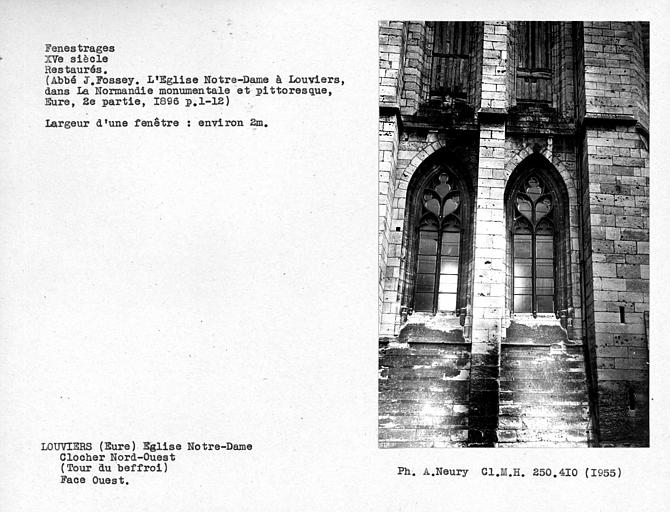 Fenestrages restaurés de la face ouest du clocher nord-ouest
