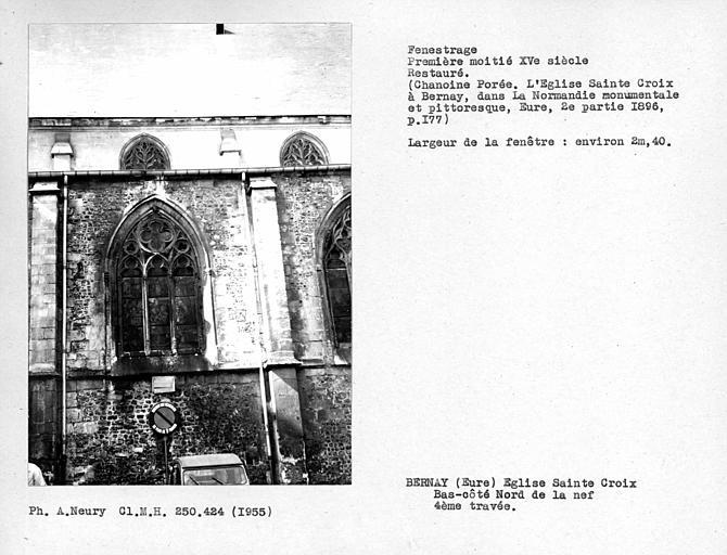 Fenestrage restauré de la quatrième travée du bas-côté nord de la nef