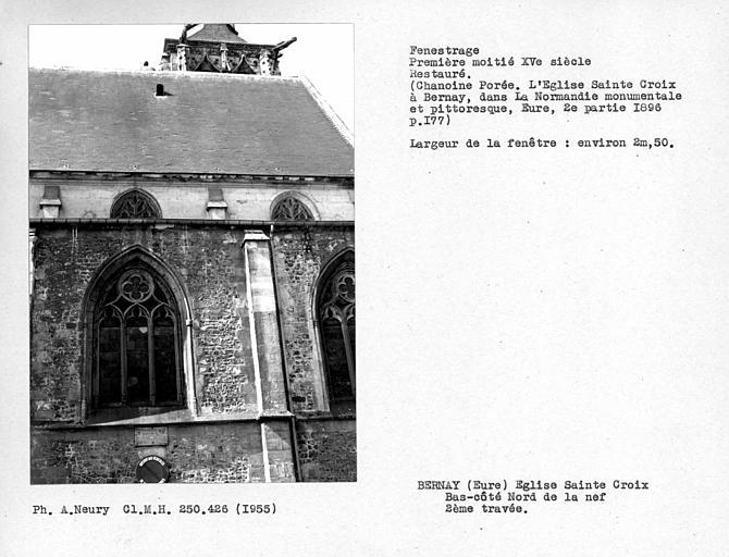 Fenestrage restauré de la deuxième travée du bas-côté nord de la nef
