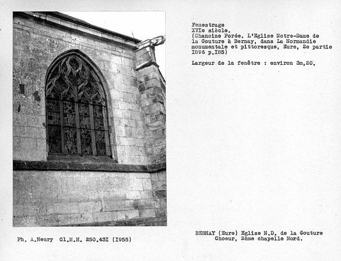 Fenestrage de la deuxième chapelle côté nord du déambulatoire
