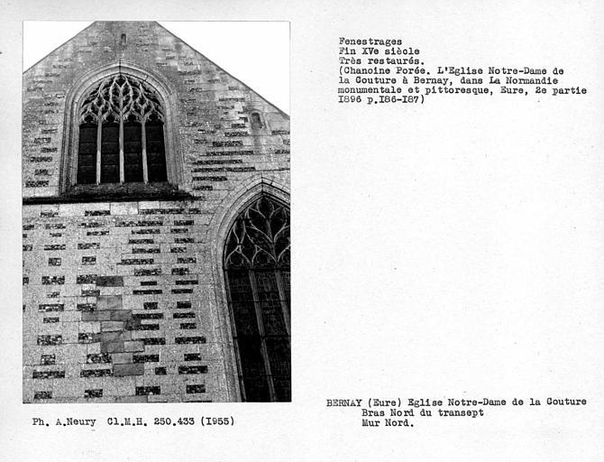 Fenestrages restaurés du bras nord du transept