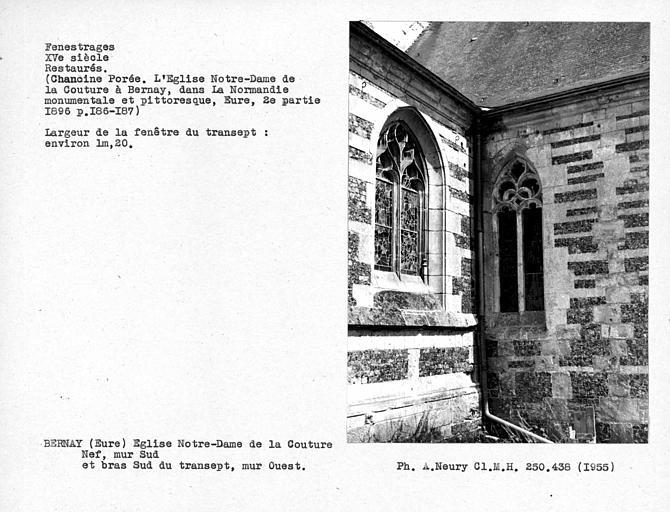 Fenestrages ouest restaurés du bras sud du transept