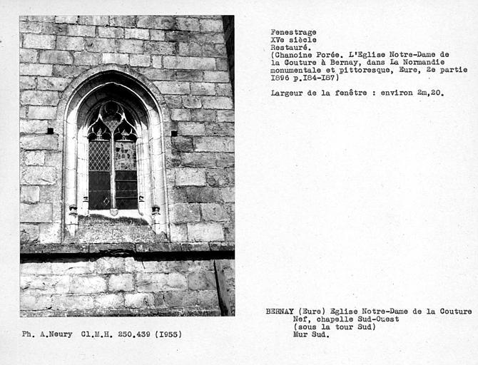 Fenestrage sud restaurés de la chapelle