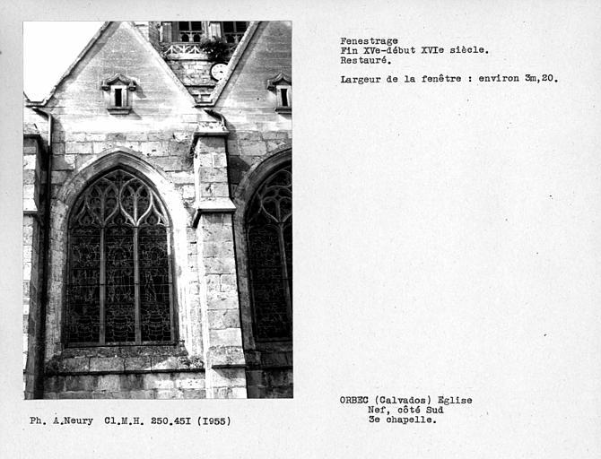 Fenestrage restauré de la troisième chapelle côté sud de la nef
