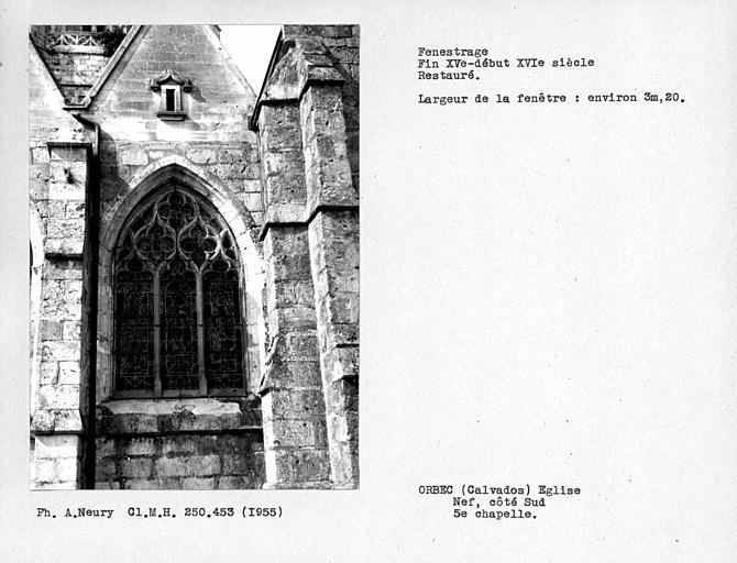 Fenestrage de la cinquième chapelle côté sud de la nef