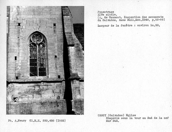 Fenestrage sud de la chapelle sous la tour au sud de la nef