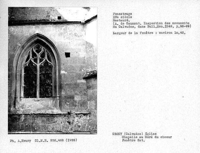 Fenestrage est restauré de la chapelle au nord du choeur