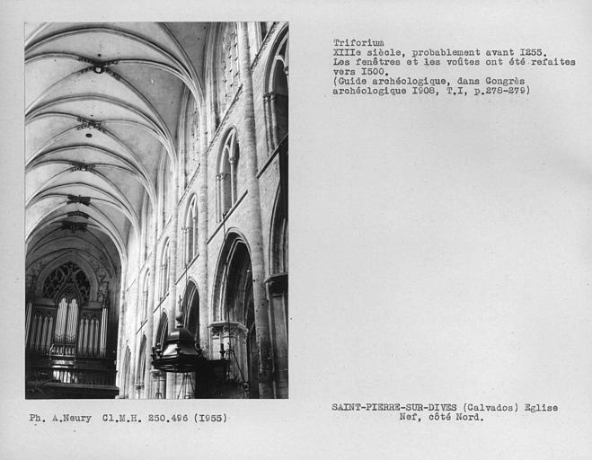 Voûtes de la partie ouest de la nef, triforium