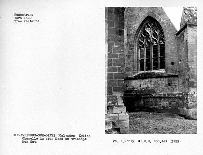 Fenestragerestauré du mur est de la chapelle au nord de la première travée droite du choeur
