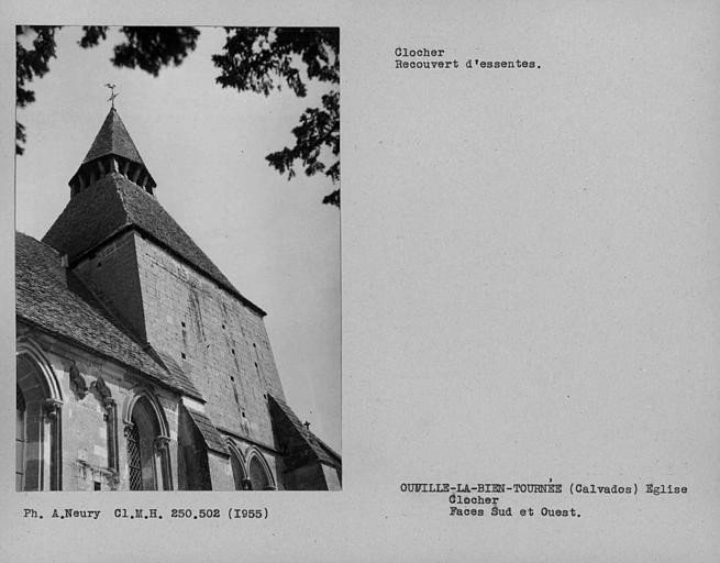 Faces sud et ouest du clocher recouvert d'essentes
