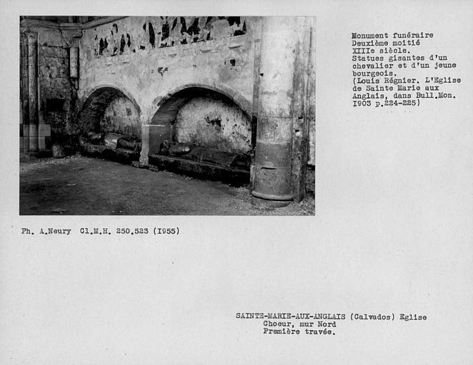 Mur nord de la première travée du choeur, monument funéraire, statues gisantes d'un chevalier et un jeune bourgeois