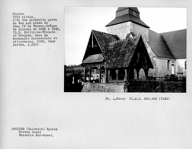 Eglise en pan-de-bois ; Ensemble sud-ouest du porche ouest